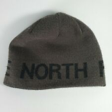North Face Knit Reversible Black Gray Beanie Hat One Size Kids Youth Embroidered