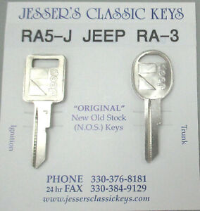 NOS '88 '89 Very Rare Original RA-5 RA-3 JeeP AMC Pair Nickel Keys 1988 1989