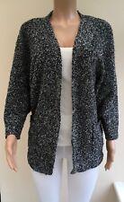 Atmosphere Black Grey Boucle Knit Cardigan Jacket Size 10  #K70
