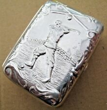 A Large Birmingham Hallmarked Sterling Silver Embossed Golf Box - Snuff - Pill