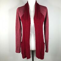 Lucky Brand Open Front Cardigan Sweater Womens S Red Textured Long Sleeve