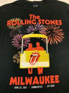 RARE ROLLING STONES 100% COTTON BLACK SUMMERFEST MILWAUKEE T-SHIRT ZIP CODE 2XL