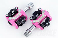 [US SELLER] New Wellgo Bike CLIPLESS Pedal SPD COMPATIBLE Cleat 98A - Pink