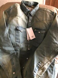 New Denim Cowboy Shirt By H-BAR-C - Size - M - Regular