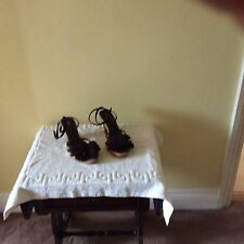 MARKS AND SPENCER FAUX SUEDE SANDLES SIZE 6 COLOUR DARK BROWN