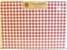 Set / 4 Benson Mills Cork Placemats Gingham Check Red White Rectangular