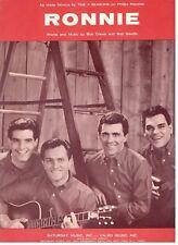 "THE 4 SEASONS ""RONNIE"" PIANO/VOCAL/GUITAR SHEET MUSIC-1964-RARE-NEW-MINT-FOUR!!"