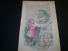1893. ORIGINAL DICTIONARY BOOK PAGE WITH VINTAGE ARTWORK OF ALICE IN WONDERLAND