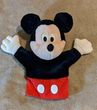 "Mickey Mouse Hand Puppet Plush Vintage Disney Store Land 10"" Plastic eyes"