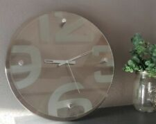 modern contemporary metal and glass wall clock