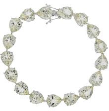 Natural Pear Cut Green Amethyst Tennis Bracelat sterling silver Platinum over