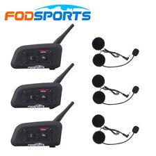 3 X BT Motorcycle Helmet Interphone Bluetooth Intercom Headset 6 Riders 1200M