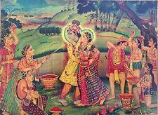 Original Indian Miniature Painting Hindu Gods Radha Krishna Mughal Folk Art