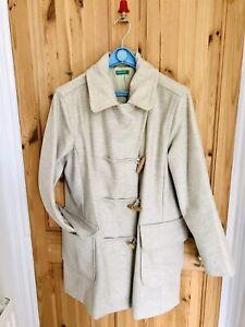 BENETTON Womens Duffle Coat size 10 Cream/Light Beige Wool 80%