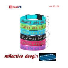 Personalised Dog Collar Embroidered ID Nylon Night Reflective Stitch AU seller