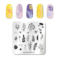 NICOLE DIARY Square Nail Stamping Plate Plants Patterns Nail Art Design Tool 101
