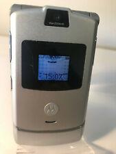 Motorola RAZR V3-Plateado (Naranja Red) Teléfono Móvil-grieta en la parte superior de la pantalla