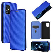 For Asus Zenfone 8 ZS590KS Carbon Fiber Stand Leather Wallet Phone Case Cover