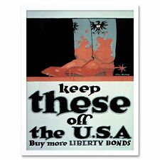 Propaganda War Wwi Usa Liberty German Boots 12X16 Inch Framed Art Print