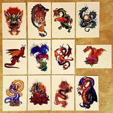 DRAGONS Temporary Tattoos - FULL SET of 12 vending NEW