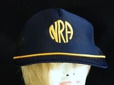 VTG NRA National Riffle Association Blue Embroidered Gold Trucker Snapback Hat
