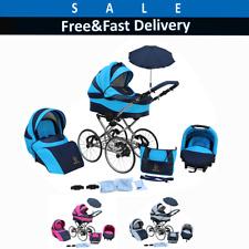 Baby Pram Stroller Pushchair Buggy Classic Retro 3in1 Travel system & car seat >