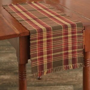 Cabin Creek Plaid Woven Cotton Rustic Country Cottage Table Runner
