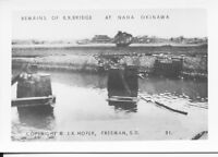 1945 WWII US Okinawa small Photo #31 remains of RR Bridge Naha