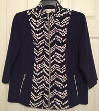 Zenergy by Chico's Navy Artsy Chevron Full Zip Stretch Jacket 2 Large 12