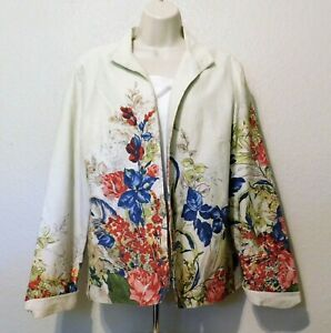 Coldwater Creek Jacket 14 Ivory Floral Print Long Sleeve Lined 100% Cotton