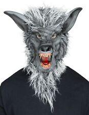 Grey Werewolf Latex Mask Evil Fangs Halloween Costume Accessory Wolf Man Beast