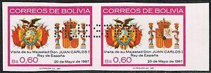 BOLIVIA 1987 STAMP #740 MNH MUESTRA SPECIMEN IMPERFORATED PAIR SPAIN ROYAL VISIT