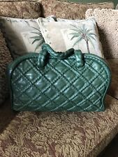 Chanel Jade Green Quilted Lamskin Leather Hidden Chain Bowler Bag $3450+Tax