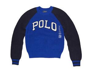 NWT Ralph Lauren Polo Big Boys TwoTone Knit Crewneck Sweater Royal Blue Coat L