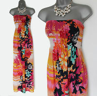 MONSOON Exotic Floral Print Strapless Beach Holiday Summer Maxi Dress MEDIUM