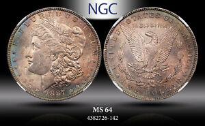 1887-P MORGAN SILVER DOLLAR NGC MS64 GREAT NORTHWEST COLLECTION BLUE TONED
