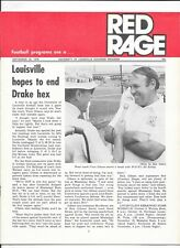 1976 Louisville Cardinals vs Drake Football Program Red Rage Vince Gibson UofL