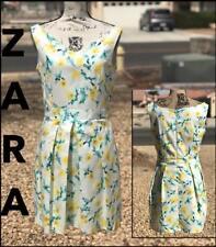 ZARA WOMEN (L) FULLY LINED YELLOW FLORAL GREEN WATERCOLOR PRT DRESS Sz L NEW