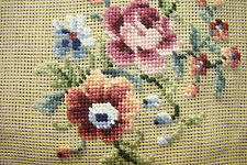 VTG PREWORKED Needlepoint Canvas Mauve Roses PICTURE FRAME CZECHOSLOVAKIA