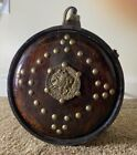 ANTIQUE Vintage Wooden Canteen with Metal Strap and Wooden Stand Great Conditio