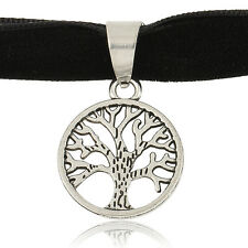 Elegant Tree of Life Pendant Black Velvet Ribbon Gothic Boho Choker Necklace