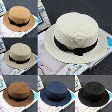 Unisex Maize Straw Flat Top Pork Pie Boater Derby Sun Hat Natural Selling  best