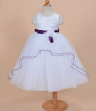 New White and Purple Sash Bridesmaid Party Flower Girl Dress 6-7 Years