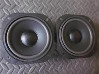 "NEW (2) 5.25""  Woofer Speakers.five inch.5 1/4"".8ohm.Square Frame Midbass.PAIR"