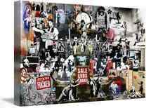 BANKSY COLLAGE MONTAGE FRAMED CANVAS WALL ART PICTURE LARGE A1 SIZE NEW
