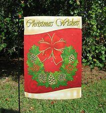"""Christmas Garden Flag with Wreath - 13"""" x 18.5"""" - New"""
