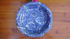 ANTIQUE JAPANESE PORCELAIN BOWL 19th C. BLUE & WHITE EDO ERA