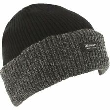 Thermal Thinsulate Fleece Lined Black Grey Winter Work Beanie Ski Hat Cap Unisex