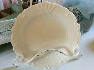 Geschirrserie Crown Dessert Teller Porzellan Offwhite Krone Shabby Vintage