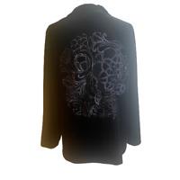 Chico's Womens Size 3 XL Black Jacket Long Sleeve Embroidered Back Velvet  Zip
